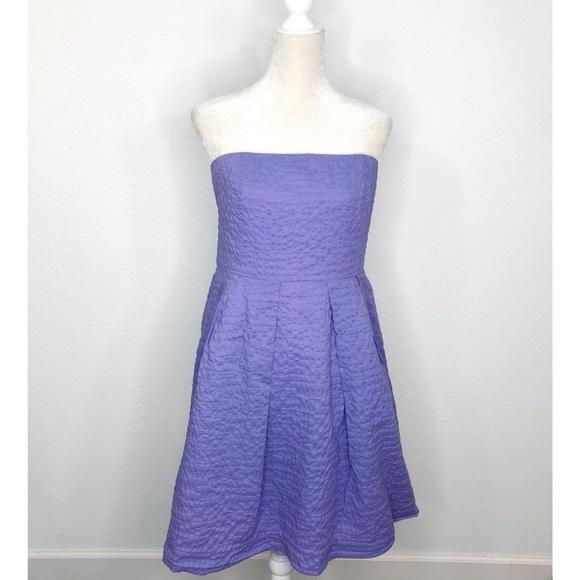 J. Crew Purple Textured Strapless Dress Size
